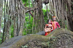 Paare auf Affe-Brücke Ubad BaliBALI, INDONESIEN - 17. Mai Paare auf Affe-Brücke Ubad Bali nach Hochzeitszeremonie am 17. Mai, 201 Stockbilder
