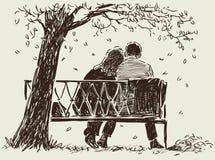 Paare auf der Bank lizenzfreie abbildung