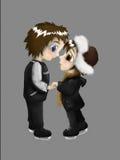 Paare auf Rochen Stockfotos