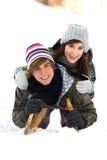 Paare auf Schlitten Lizenzfreies Stockbild
