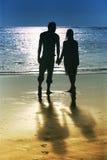 Paare auf Sonnenuntergang Stockfotografie