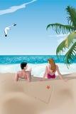 Paare auf Strand stock abbildung