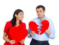 Paare, aufgeregte Frau, trauriger Mann Lizenzfreies Stockbild