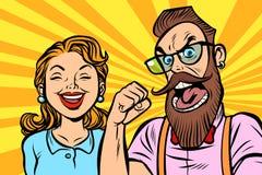 Paare bemannen und Frau Zorn und Gelächter lizenzfreie abbildung