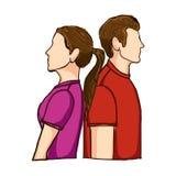 Paare bemannen und Frauenikonenbild lizenzfreie abbildung