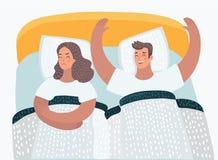 Paare in den Bettproblemen sexuell stock abbildung