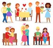 Paare in den Liebesvektor-Liebhabercharakteren in den reizenden Verhältnissen auf liebevollem Datum zusammen am Valentinsgrußtag  Lizenzfreies Stockfoto