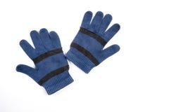 Paare der blauen Wollhandschuhe Stockfotos