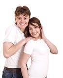 Paare in der Blue Jeansumarmung. Lizenzfreie Stockfotografie