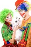 Paare der Clowne mit einem weißen Kaninchen Stockfotos