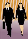 Paare der Geschäftsleute, die vorwärts gehen vektor abbildung