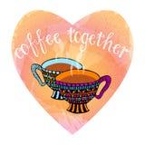 Paare der Hand gezeichneten dampfigen Kaffeetassen im Herzen formten Aquarellnachahmung Lizenzfreie Stockfotos