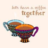 Paare der Hand gezeichneten dampfigen Kaffeetassen Karikatur stilisiertes Design Stockfoto