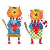 Paare der Katzen. Grußkarte Lizenzfreie Stockbilder