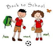 Paare der Kinder, die zurück zur Schule gehen Stockbilder