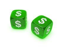 Paare der lichtdurchlässigen grünen Würfel mit Dollarzeichen Stockfoto