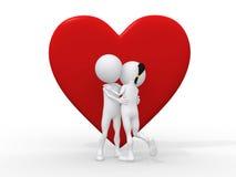 Paare der Liebe 3d, die gegen ein großes rotes Inneres umfassen Stockfotos