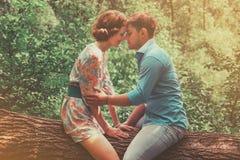 Paare in der Liebe, die auf Baum im Sommer sitzt Stockfoto