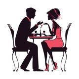 Paare in der Liebe, die in einem Cafévektorillustrations-Rosa versio sitzt Stockfotos