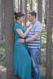 Paare in der Liebe, die im Wald geht Stockfotos