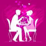 Paare in der Liebe in einem Café auf dunklem rosa Hintergrund mit der Hand zeichnen Stockfotos