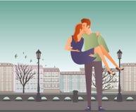 Paare in der Liebe Junger Mann und Frau auf einem romantischen Datum in der Straße der alten Stadt stock abbildung