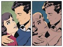 Paare in der Liebe Leute in der Retrostilpop-art und in der Weinleseanzeige stock abbildung