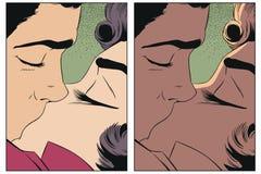Paare in der Liebe Leute in der Retrostilpop-art und in der Weinleseanzeige vektor abbildung