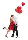 Paare in der Liebe mit Herz-Ballonen lizenzfreie stockbilder