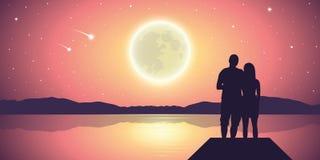 Paare in der Liebe am See mit Vollmond und purpurroter Landschaft der Sternschnuppen stock abbildung