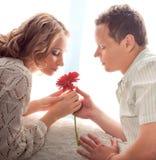 Paare der Liebhaber. Mann stellt Blume dar lizenzfreies stockbild