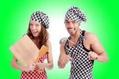 Paare der lustigen Köche Stockfotos