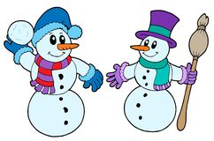 Paare der netten Schneemänner Lizenzfreie Stockfotografie