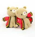 Paare der Puppe vom Strickgarn Stockbilder