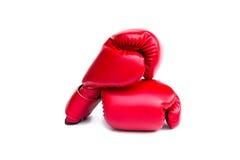 Paare der roten ledernen Boxhandschuhe Stockfoto