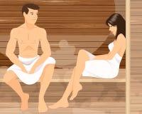 Paare in der Sauna Lizenzfreie Stockfotografie