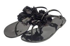 Paare der schwarzen flachen Schuhe Stockfotografie
