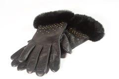 Paare der schwarzen ledernen Handschuhe Stockfotografie