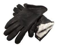 Paare der schwarzen ledernen Winterhandschuhe Stockfotografie