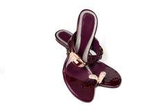 Paare der violetten Schuhe Stockfotografie