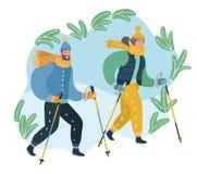Paare des Ehemanns und der Frau, die das nordische Gehen sich engagieren lizenzfreie abbildung