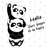Paare des Handgezogene nette Pandas zwei lizenzfreie abbildung