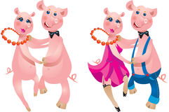 Paare des Schweintanzens Lizenzfreies Stockfoto