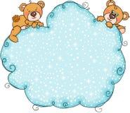 Paare des Teddybären mit blauem Schneewolkenhintergrund vektor abbildung