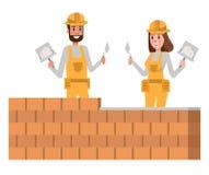 Paare des Ziegelsteinerbauers team in einem gelben schützenden Hardhat vektor abbildung