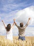 Paare, die auf dem Weizengebiet umarmen Stockfoto