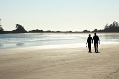 Paare, die auf den Strand gehen Lizenzfreie Stockfotografie