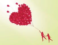 Paare, die Ballon anhalten Vektor Abbildung