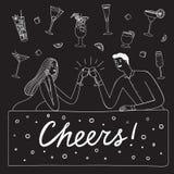 Paare, die an der Bar trinken lizenzfreie stockfotos