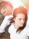 Paare, die einen Kampf haben Stockfoto